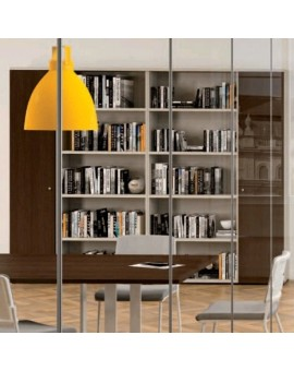 Bibliothèque de bureau ouverte au centre, armoires à portes battantes coloris wengué