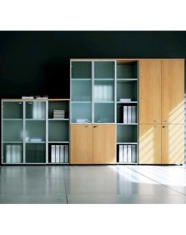 Composition d'armoires bibliothèque en bois et portes verre trempé avec encadrements aluminium